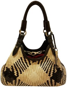 Cole Haan Refurbished Two-tone Genevieve Weave Leather Hobo Bag