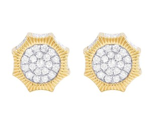 Jewelry Unlimited 10K Yellow Gold Diamond 3D Octagon Cluster Stud Earring 0.50 Ct 10MM