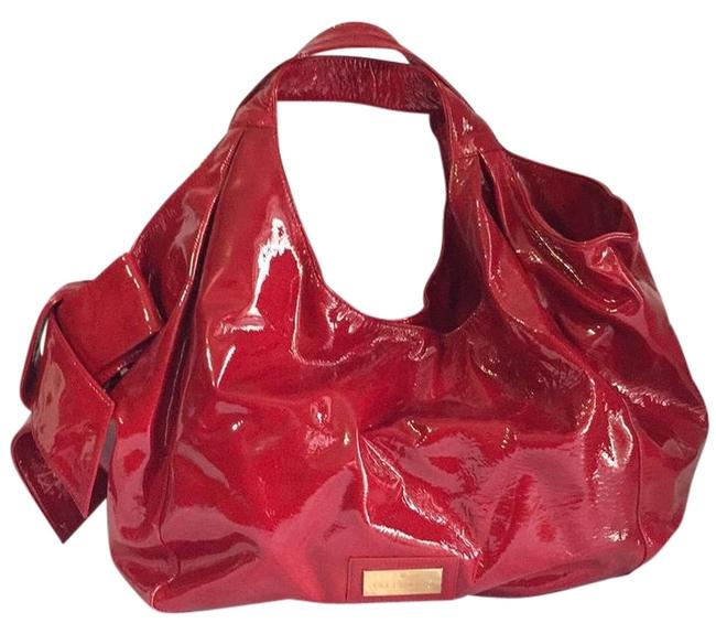 Item - Big Bow Red Patent Leather Hobo Bag