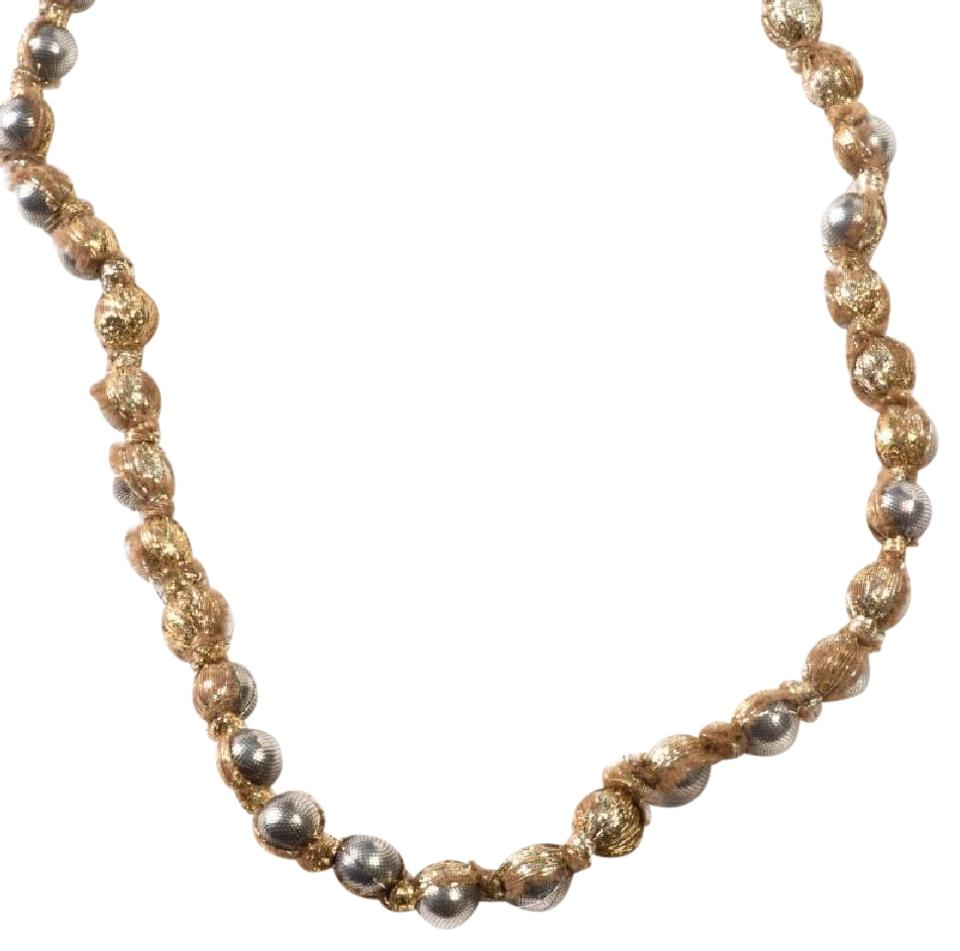 Lanvin Pearl Necklace: Lanvin Paris Gold Metal Pearl Ribbon Strand Necklace On