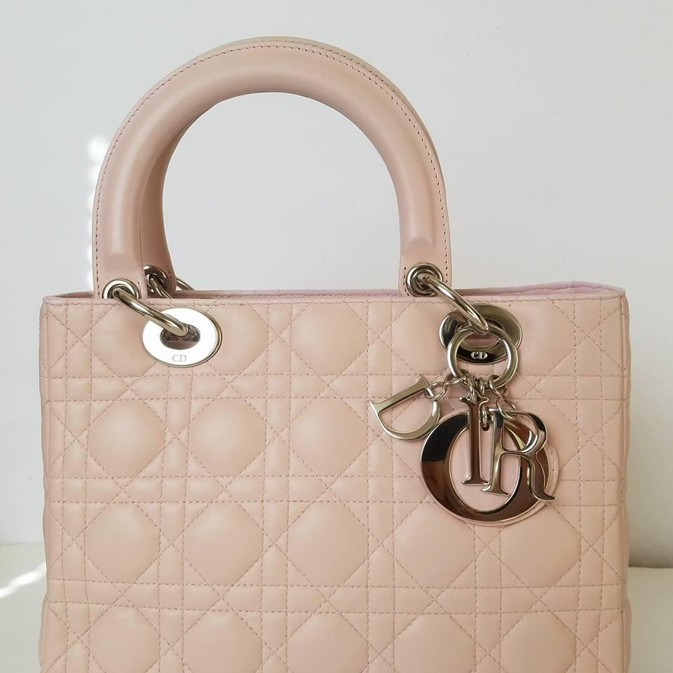 dior lady cannage quilted lambskin leather pink tote bag on tradesy. Black Bedroom Furniture Sets. Home Design Ideas