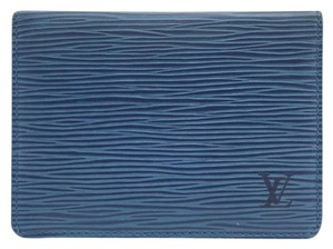 Louis Vuitton #14453 Blue Epi leather Bifold ID Card Flap pass Case Wallet