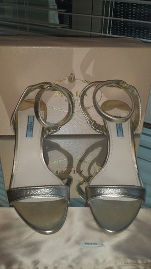 Prada Ankle Strap gold Sandals