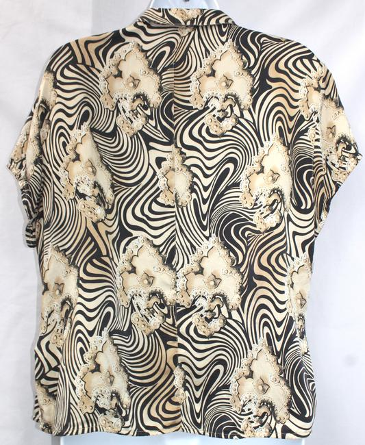 Escada Animal Print Button Down Silk 42 Top BROWN/BLACK