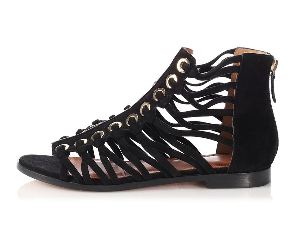 4b5ac29ac6f1c0 Givenchy Black Suede Gladiator Caged Flat Sandals Size EU 38.5 ...