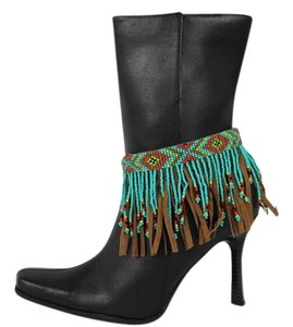 alwaystyle4you Women Western Ethnic Boot Anklet Chain Metal Shoe Brown Fabric Fringes