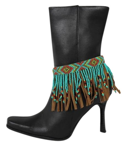 Preload https://img-static.tradesy.com/item/22177673/turquoise-women-western-ethnic-boot-anklet-chain-metal-shoe-brown-fabric-fringes-charm-0-1-540-540.jpg