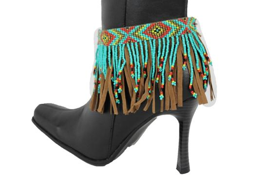 alwaystyle4you Women Western Ethnic Boot Anklet Chain Metal Shoe Brown Fabric Fringes Image 2