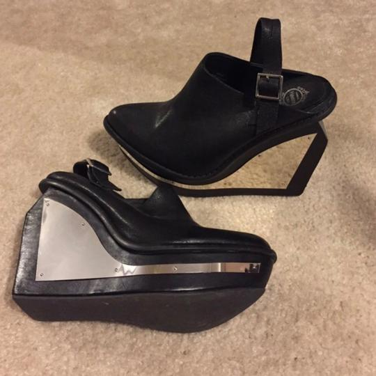 Jeffrey Campbell Black & Mirrored Mules Image 1