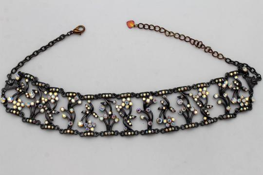 alwaystyle4you Women Hot Fashion Wide Choker Necklace Gunmetal Metal Floral Bling Image 3