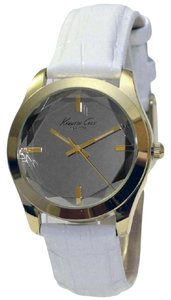 Kenneth Cole KCW2001 Women's White Leather Band With Silver Analog Dial Watch