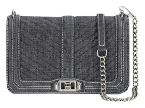 Rebecca Minkoff Denim Silver Quilted Cross Body Bag