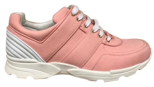 Preload https://img-static.tradesy.com/item/22178011/chanel-pink-17c-salmon-canvas-cc-white-lace-up-tie-flat-trainer-sneaker-sneakers-size-eu-42-approx-u-0-1-540-540.jpg
