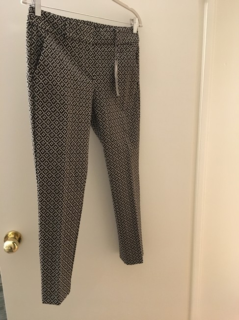 Ann Taylor LOFT Flattering New Tags Straight Pants Dark Brown with small white print Image 1