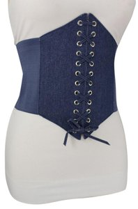Alwaystyle4you Women Denim Blue Wide Stretch Fabric High Waist Corset Fashion Belt
