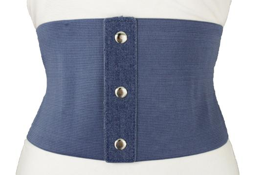 Alwaystyle4you Women Denim Blue Wide Stretch Fabric High Waist Corset Fashion Belt Image 2