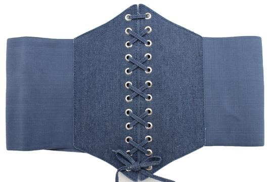 Alwaystyle4you Women Denim Blue Wide Stretch Fabric High Waist Corset Fashion Belt Image 3