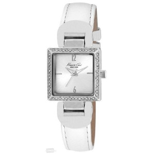 Kenneth Cole 10021986 Women's White Leather Band With Silver Analog Dial Watch