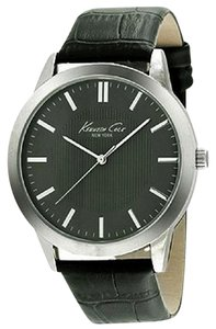 Kenneth Cole 10024815 Men's Black Leather Band With Black Analog Dial Watch