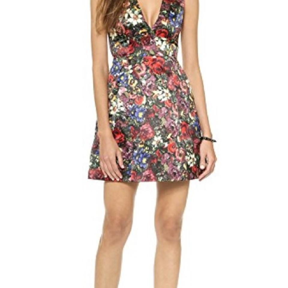 Alice olivia multicolor deep v floral english floral allover alice olivia dress ombrellifo Choice Image