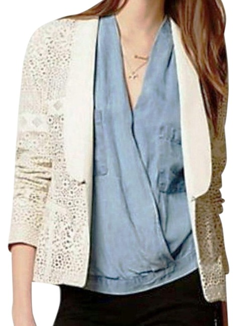 Anthropologie Animal Friendly Versatile + Unique Hook + Eye Closure Lacey Look Edgy Ivory Blazer Image 0