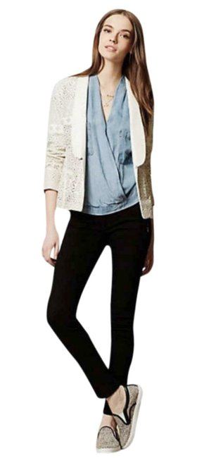Anthropologie Animal Friendly Versatile + Unique Hook + Eye Closure Lacey Look Edgy Ivory Blazer Image 1