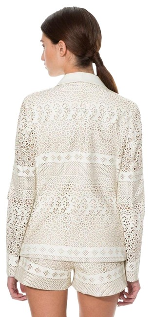 Anthropologie Animal Friendly Versatile + Unique Hook + Eye Closure Lacey Look Edgy Ivory Blazer Image 3