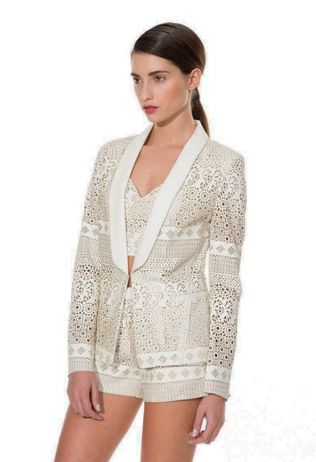 Anthropologie Animal Friendly Versatile + Unique Hook + Eye Closure Lacey Look Edgy Ivory Blazer Image 4