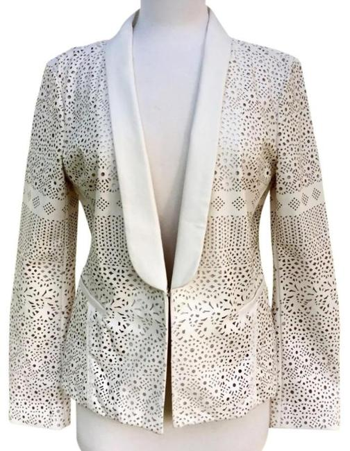 Anthropologie Animal Friendly Versatile + Unique Hook + Eye Closure Lacey Look Edgy Ivory Blazer Image 6