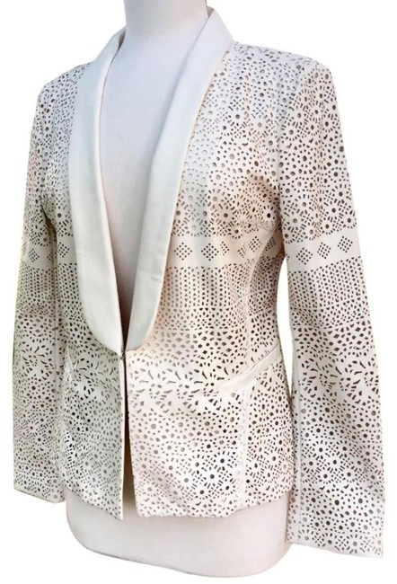 Anthropologie Animal Friendly Versatile + Unique Hook + Eye Closure Lacey Look Edgy Ivory Blazer Image 7