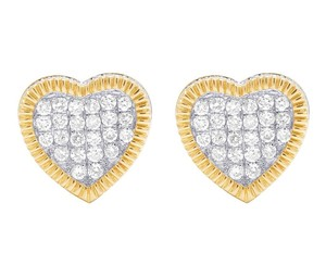 Jewelry Unlimited Real 10K Yellow Gold Diamond 3D Heart Cluster Earring 0.85 Ct 11MM