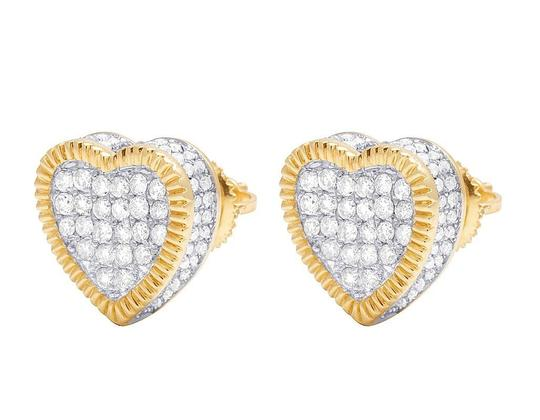 Jewelry Unlimited Real 10K Yellow Gold Diamond 3D Heart Cluster Earring 0.85 Ct 11MM Image 5