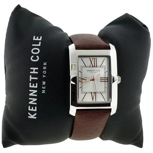 Kenneth Cole 10031340 Men's Brown Leather Band With Silver Analog Dial Watch
