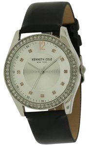 Kenneth Cole 10031697 Women's Black Leather Band With Silver Analog Dial
