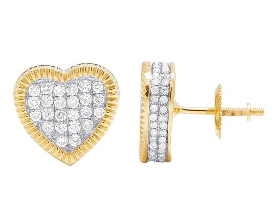 Jewelry Unlimited Real 10K Yellow Gold Diamond 3D Heart Cluster Earring 0.75 Ct 10MM Image 2