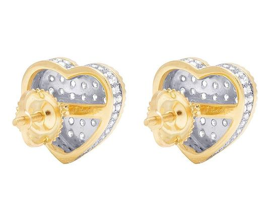 Jewelry Unlimited Real 10K Yellow Gold Diamond 3D Heart Cluster Earring 0.75 Ct 10MM Image 3