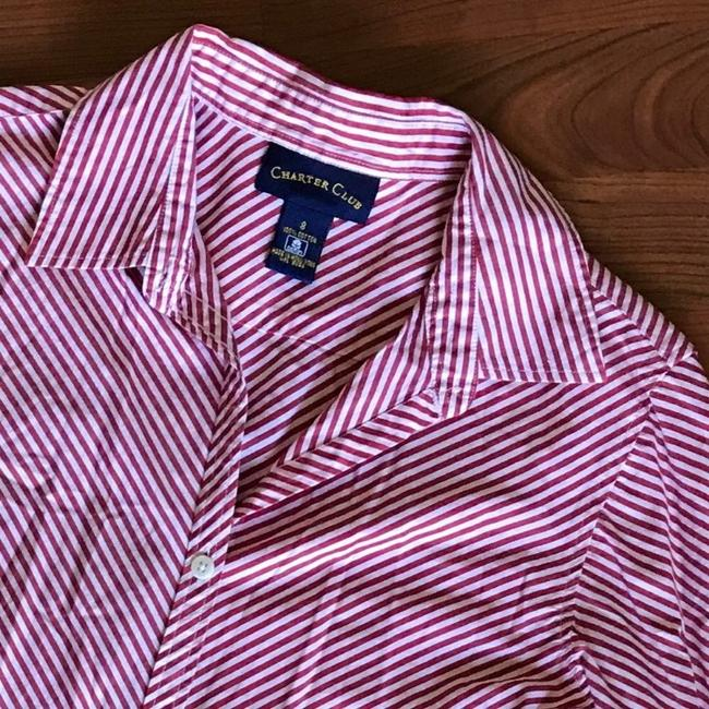 Charter Club Button Down Shirt red white Image 2