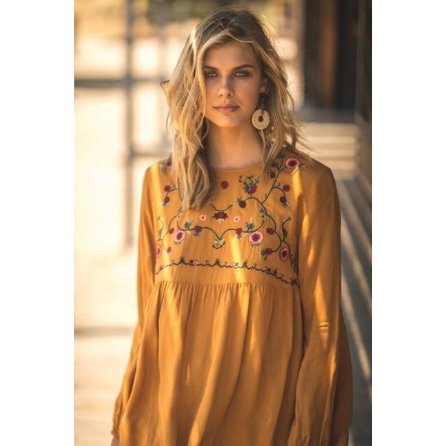 Jodifl Fall Trendy Embroidered Top Toffee Image 1