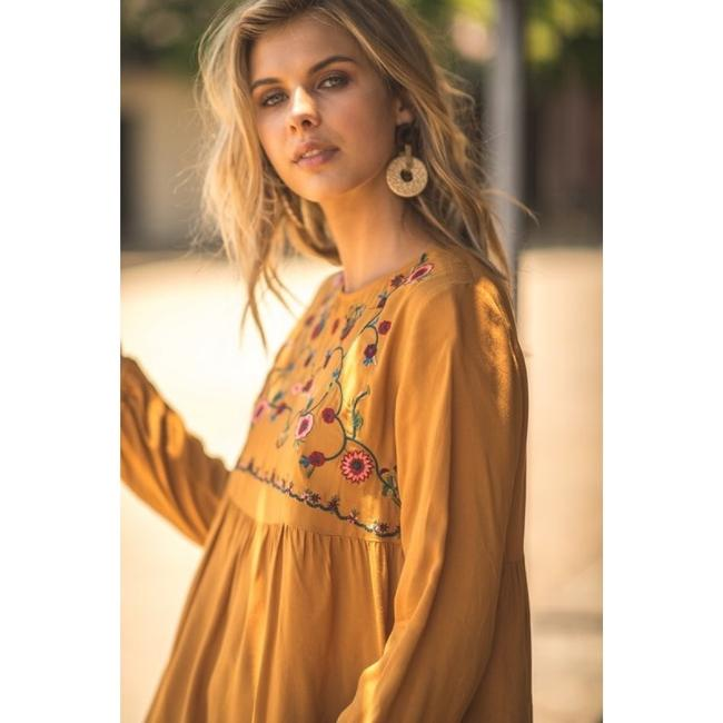 Jodifl Fall Trendy Embroidered Top Toffee Image 2