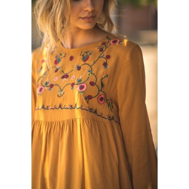 Jodifl Fall Trendy Embroidered Top Toffee Image 3