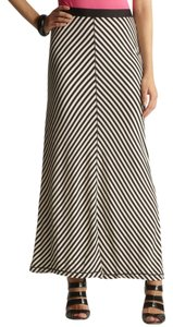 Max Studio Maxi Skirt Navy White Stripe