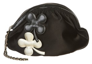 Chanel Chanel Black Satin Clover Cosmetic Bag