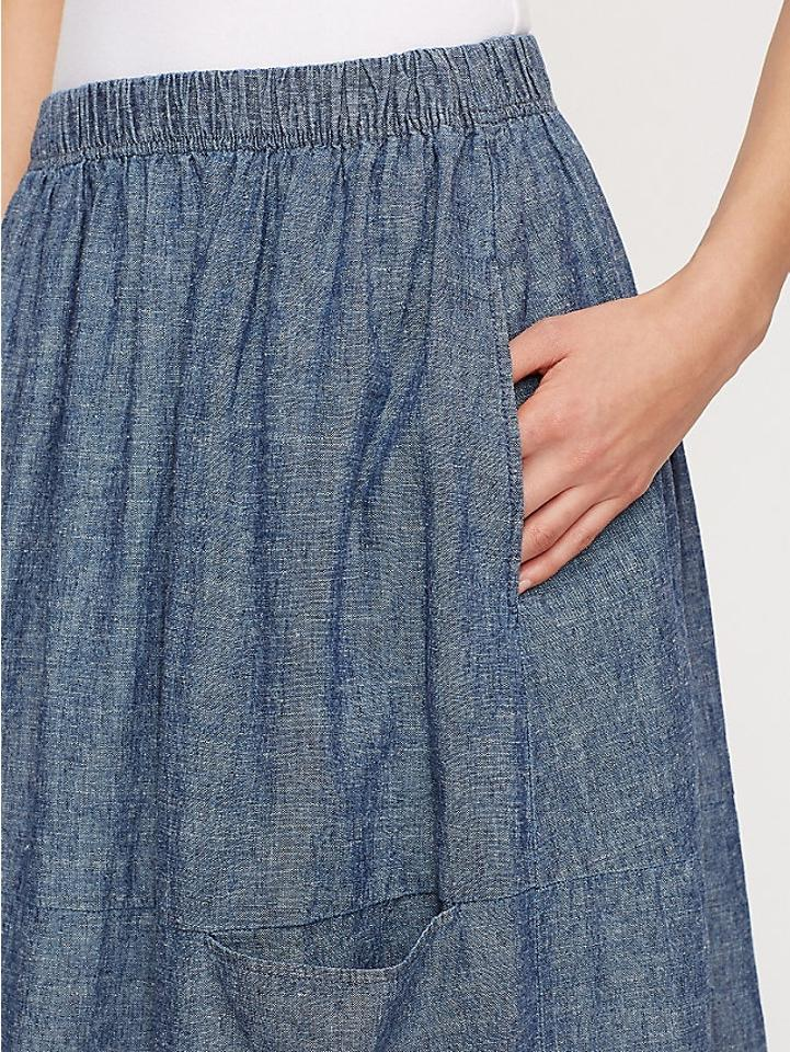 efeed11476e Eileen Fisher Denim Calf-length Oval In Hemp and Organic Cotton Chambray Skirt  Size Petite 10 (M) - Tradesy