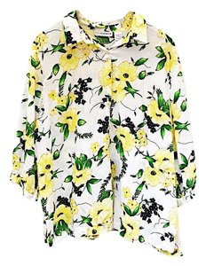 Sag Harbor Button Down Shirt yellow green white