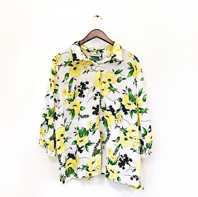 Sag Harbor Button Down Shirt yellow green white Image 1