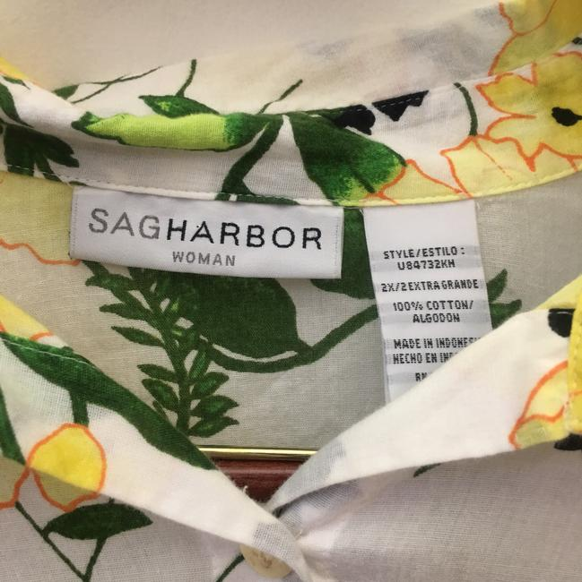 Sag Harbor Button Down Shirt yellow green white Image 2