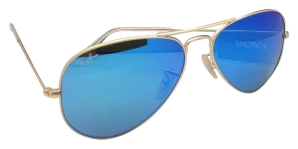 abbbe93e6c Ray-Ban Rb 3025 Large Metal 112 17 55-14 Gold Aviator Frame W  Blue ...