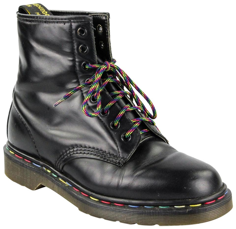 limpid in sight best authentic wide range Dr. Martens Black 1980's Classic Ankle with Rainbow Laces and Stitching  Boots/Booties Size US 9.5 Regular (M, B)