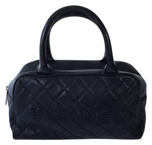 Chanel Quilted Leather Satchel in Black