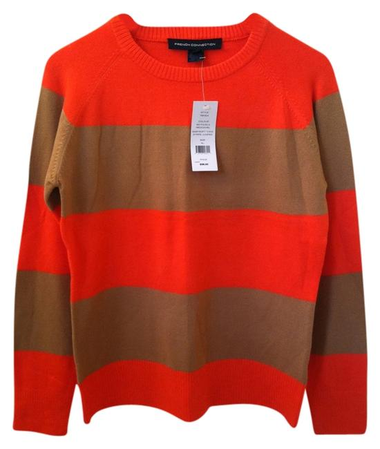 Preload https://item2.tradesy.com/images/french-connection-orange-tan-stripe-sweaterpullover-size-16-xl-plus-0x-2217936-0-0.jpg?width=400&height=650